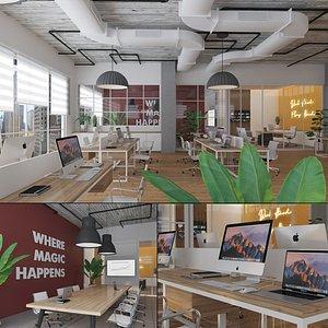 3D scene office desk macbook model