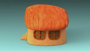 low-poly building 3D model
