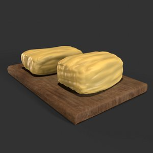 Medieval Butter Wood Tray 3D
