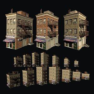 Customizable city building Low-poly 3D model 3D model
