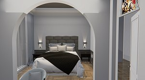 bedroom room bed 3D model