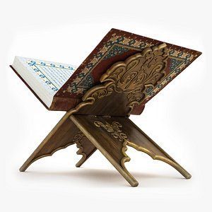 3D Book Quran with Stand-Animated-8K Texture