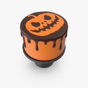3D Halloween Cake with Pumpkin Face Topper