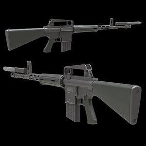 3D Armalite AR-10 Low Poly
