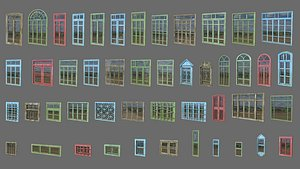 3D low-poly windows pack model