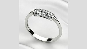 3D Pave Gems Fashion Gold Ring