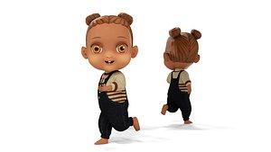 3D Cartoon African Girl Full Rigged