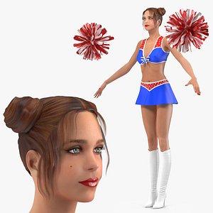 3D Teenage Girl Cheerleader Neutral Pose model
