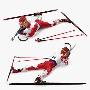 Biathlete Fully Equipped Canada Team Shooting Pose 3D model