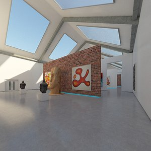 realistic art gallery interior 3D