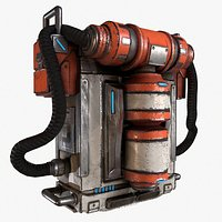 Sci-fi Backpack Canister Case  Bag 01 with Zbrush files
