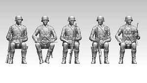 3D model German soldiers ww2
