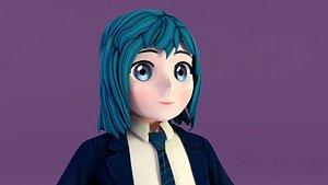 girl anime school 3D model