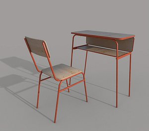 3D School chair and desk A model