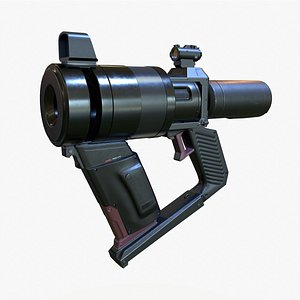 3D High Poly Sci-fi Revolver PBR