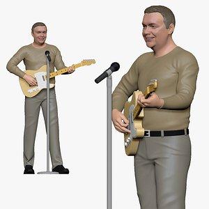 3D 001170 guitarist with telecaster guitar