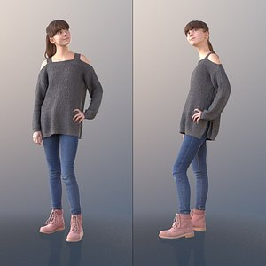 girl young standing 3D model