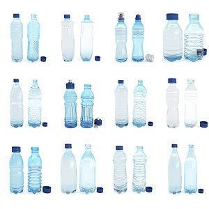 Set plastic 12 water bottle 3D Model 3D model