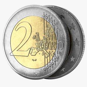 euro coin pbr 3D model