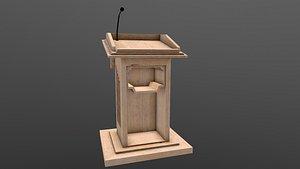 Wooden Podium 3D model