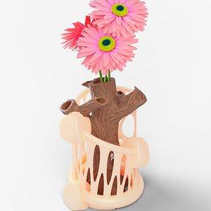 3D vase tree trunk flower