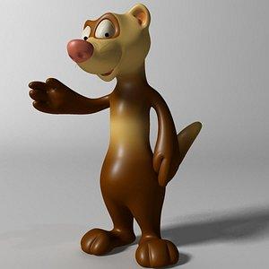3D cute ferret rigged anime