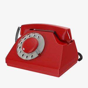 red vintage phone 3D
