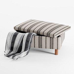3D model Quinn Striped Ottoman