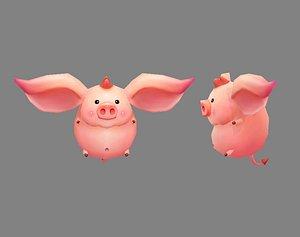 Cartoon piggy - Flying Pig 3D model