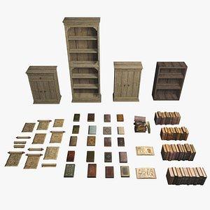 books ancient bookcases shelfs 3D model