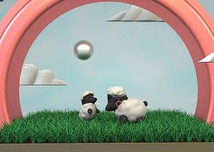 Cartoon sheep cartoon lamb Q version sheep cute sheep ram ewe sheep low-face sheep mother  day moth 3D model