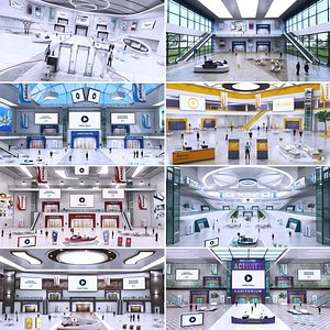 3D Big Congress Exhibition Lobby Centre Collection 8 in 1