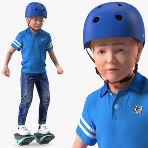Teenage Boy on Electric Drift Roller Skates Rigged model