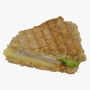 3D grilled pork club sandwich