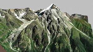 Mountain landscape Chalaadi glacier Mestia Svaneti Georgia 3D model