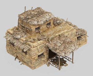Mud hut log cabin thatched hut shabby house ancient house country house 3D model