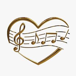 heart musical symbols 3D