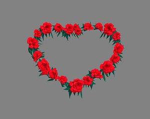 Cartoon Rose Flower Wreath - Love Heart model