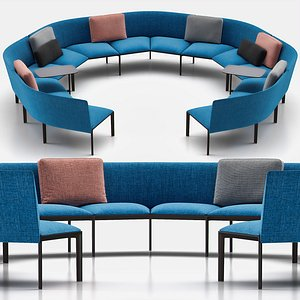 ADD ROUND Sectional Curved Sofa 3D model