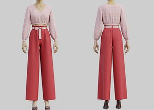 Floral Crop blouse and Wide  leg palazzo pants 2 piece outfit model