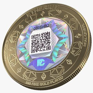 ethereum eth cryptocurrency coin 3D model