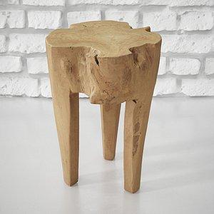 teak wood stool 3D model