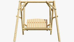 wood swing wooden 3D model