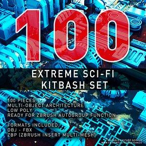 3D extreme sci-fi set model
