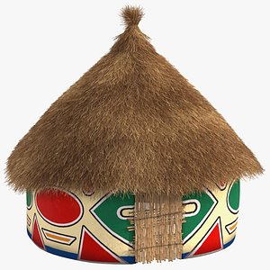 Traditional African Hut with Painting Fur 3D model