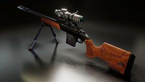 Walnut Remington 700 Rifle 3D model