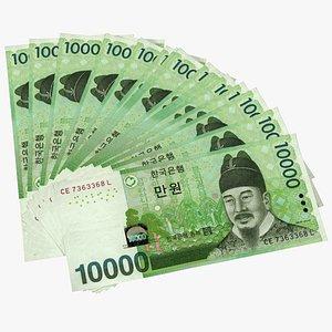 Fan Shaped Korea Republic 10000 Won Banknotes 3D model