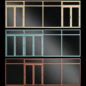 doors aluminum stained 3D model