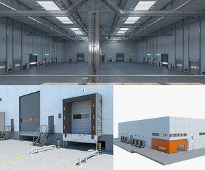 3D Warehouse Logistic 5 interior and exterior