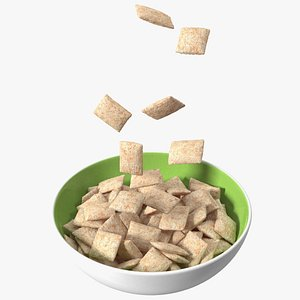 3D model Breakfast Cereal Pads Falling into Bowl